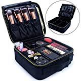 Makeup Train Case, Travel Makeup Bag Makeup Case Cosmetic Bag Toiletry Makeup Brushes Organizer Portable Travel Bag Artist Storage Bag with Adjustable Dividers (black with golden zipper)