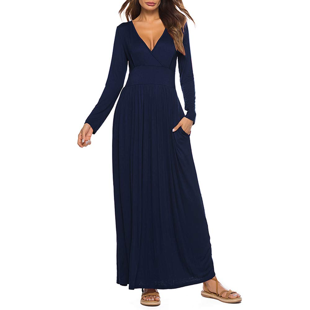 DIOMOR Casual Pure Color Long Sleevel V Neck Long Dresses Classic Fashion Daily Slim Fit Thin Sheath Dress Sleep wear