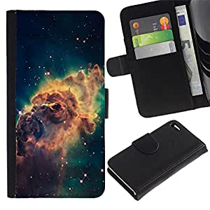 KingStore / Leather Etui en cuir / Apple Iphone 4 / 4S / Galaxy Espacio de Polvo Gas Estrellas Cluster Amarillo