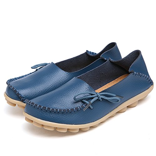 On Shoes Loafers Slip Women's IRuis Blue Flats Pumps Slipper Drivers Leather Causal YOWaSxvfS