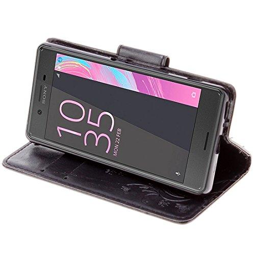 Beautiful & practical Para Sony Xperia XA mariposas Embossing Horizontal Flip caja de cuero con el titular y ranuras para tarjetas y billetera y cordón ( Color : Black ) Black