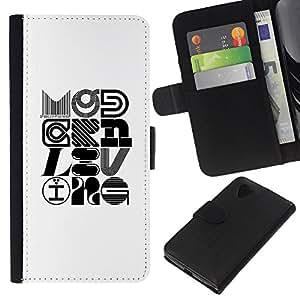 FU-OrionisDibujo PU billetera de cuero Funda Case Caso de la piel de la bolsa protectora LG Nexus 5 D820 D821 - Pop Art Modern Design Calligraphy