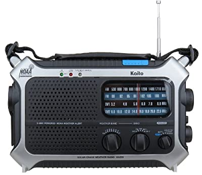 Kaito KA550 Portable Solar / Hand Crank AM/FM, Shortwave & NOAA Weather Emergency Radio with Automatic Weather Alert & Cell Phone Charger by Kaito