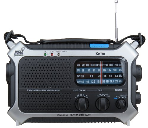 Kaito KA550 5-Way Powered AM/FM Shortwave NOAA Weather Emergency Radio with PEAS (Public Emergency Alert System) (Silver) (Kaito Radio Antenna)