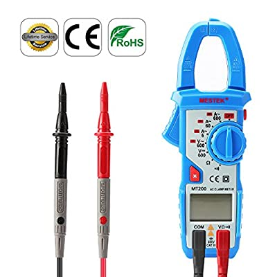 Clamp Meter Digital Clamp Multimeter 600V Amp Clamp Electrical Tester Multi Meter Voltage Tester Continuity Diode Test Voltmeter Ammeter with NCV for Lab Aidbucks MT200