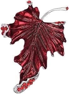 Accesorios de Vestir de Cuello Broche de Hoja de Arce Rojo Rubí Pernos de Broches Para Mujeres