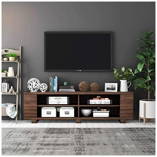 Living Room Tangkula Wooden TV Stand for TVs up to 65-Inch Flat Screen, Mid-Century Modern Entertainment Center with 8 Open Shelves… modern tv stands