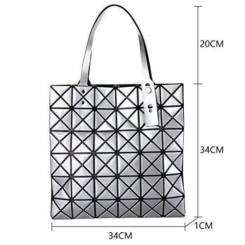 PU ​​Leather Diamond Split Checkered Geometric Blue Womens Bag Tote Joint Otcqa