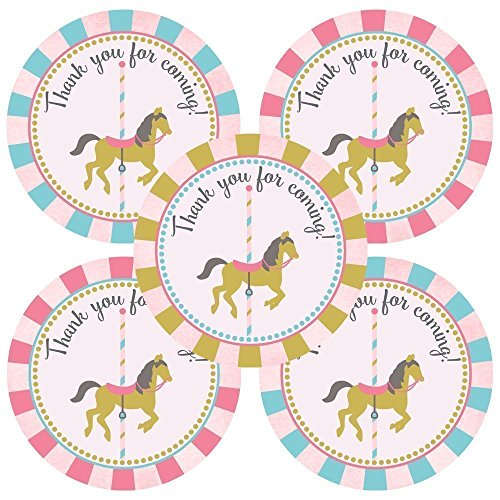 Carousel Thank You Sticker Labels for Party Favors - Birthday Baby Shower - Set of 30