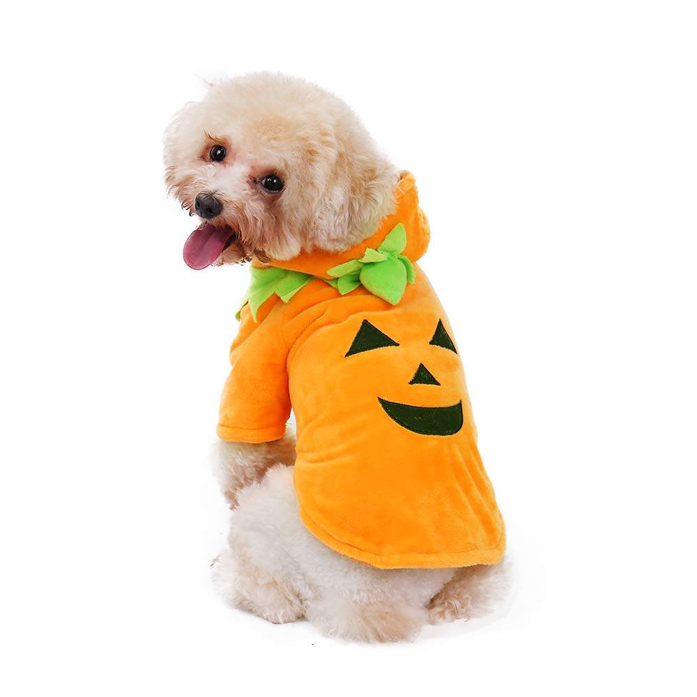 PAWZ Road Halloween Pumpkin Pooch Dog Costume Puppy Kitten Winter Warm Coat - Cosplay Hoodie for Small Medium Dog and Cat Size S