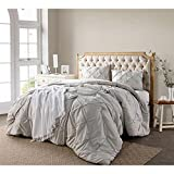 3pc Silver Pintuck Puckered Pattern Comforter Queen Set, Shabby Chic French Country, Stylish Pinch Pleated Plush Soft & Cozy Bedding, Best Microfiber Polyester, Unisex