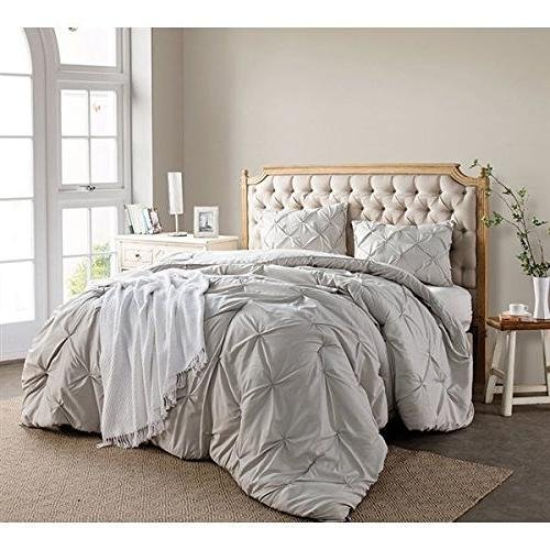 3pc Silver Pintuck Puckered Pattern Comforter Queen Set, Shabby Chic French Country, Stylish Pinch Pleated Plush Soft & Cozy Bedding, Best Microfiber Polyester, Unisex by D&D