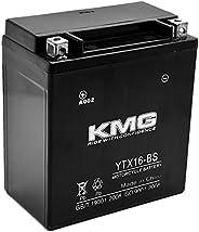KMG YTX16-BS Battery Compatible with Kawasaki 1600 VN1600 Vulcan Mean Streak 2004-2009 Sealed Maintenance Free