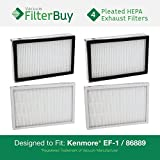 4 - Kenmore EF-1 86889 Exhaust Vacuum HEPA Filters. Designed by FilterBuy to replace Sears Kenmore Part # 20-86889 (86889), 40324, EF1. Also replaces Panasonic MC-V199H.