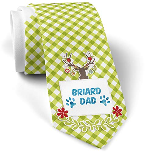 - Green Plaid Christmas Neck Tie Dog & Cat Dad Briard gift for men