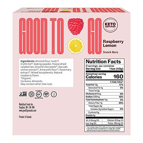 GOODTO GO Soft Baked Bars - Raspberry Lemon, 9 Pack - Gluten Free, Keto Certified, Paleo Friendly, Low Carb Snacks 3