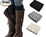 3 Pairs Women Winter Crochet Knitted Boot Cuffs Toppers Short Leg Warmer (Style 6)