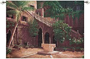 "Wishing Well Brick Courtyard Cotton Tapestry Wall Hanging 50"" x 70"""