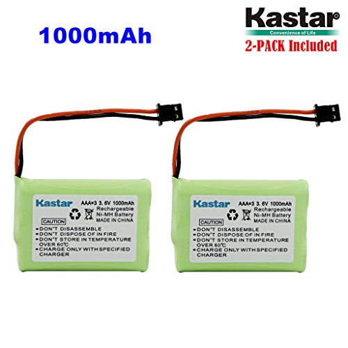 Kastar 2-Pack AAAX3 3.6V MSM 1000mAh Ni-MH Rechargeable Battery for Uniden Cordless Phone BT-446 BT446 BP-446 BP446 BT-1005 BT1005 TRU8885 TRU8885-2 TRU88852 TRU8888 TRU9460 TRU9465 TRU9480 TCX-800 ()