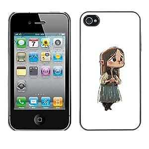 Shell-Star Arte & diseño plástico duro Fundas Cover Cubre Hard Case Cover para Apple iPhone 4 / iPhone 4S / 4S ( Japanese Anime Girl Sad Big Eyes Child )