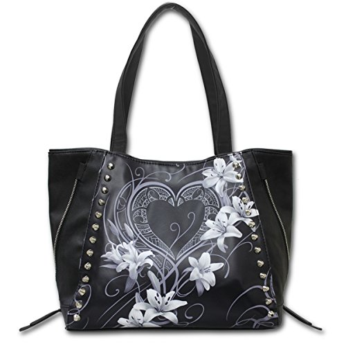 PURE PU Studded HEART Tote Bag Top OF Leather Spiral quality wfqHZTxT