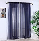 Cheap Luxury Discounts 2 PC Solid Rod Pocket Sheer Window Curtain Treatment Drape Voile Panels In Variety Of Colors (55″x95″, Navy Blue)