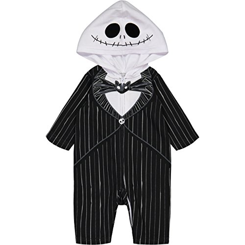 Nightmare Before Christmas Jack Skellington Baby Boys' Hooded Costume Coverall (0-3 Months) Black -