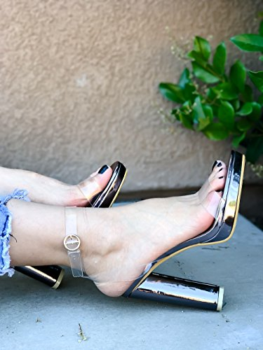 LOLLI COUTURE GREY CLEAR OPEN TOE ANKLE STRAP CHUNKY HIGH HEEL 5 silvergrey 6OmWE