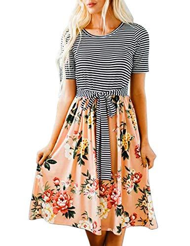 MEROKEETY Women's Short Sleeve Stripe Floral Print Tie Waist Swing Midi Dress with Pockets Pink