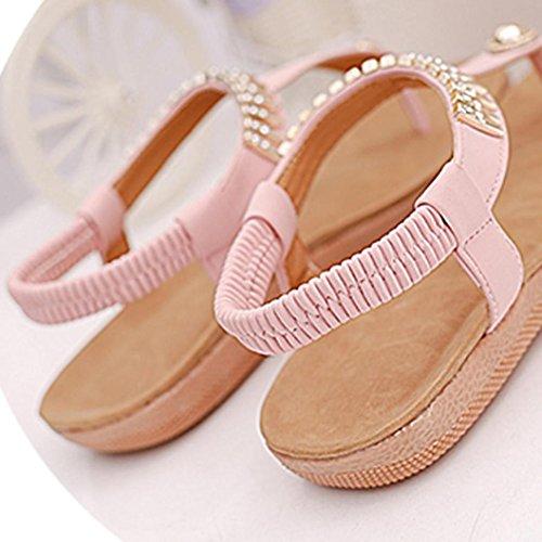 IGEMY Flache Schuhe Bead Bohemia Freizeit Lady Sandalen Peep-Toe Outdoor-Schuhe für Frauen Rosa