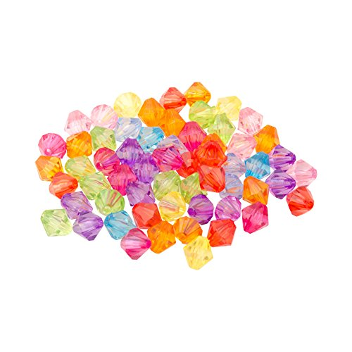 Pandahall 200pcs Assorted color Chunky Dyed Transparent Acrylic Faceted Bicone Spacer Beads for Kids (Acrylic Faceted Bicone Beads)