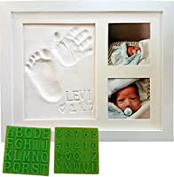 Personalized Baby Handprint & Footprint Keepsake Photo Frame Kit - Premium Non-Toxic Clay, Stencil Kit, Wall/Table Wood Picture Frame. for Registry, Baby Shower, New Mom, Holiday & Birthday Gifts! from Baby Mushroom LLC