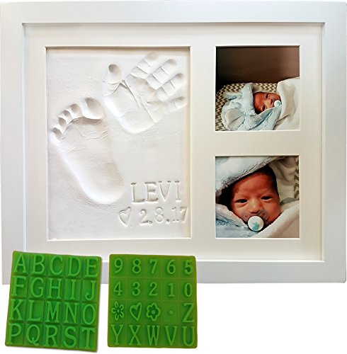 Baby Handprint & Footprint Keepsake Photo Frame Kit - Personzalize it w/Free Stencil! Non-Toxic Clay, Wall/Table Wood Picture Frame. Perfect Registry, Baby Shower, New Mom, Birthday & Newborn Gift!]()