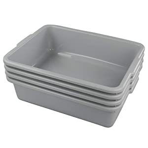 Ggbin Plastic Dish Tubs, Commercial Bus Box/Wash Basin Tote Box, 4-Pack(Grey, 22L)