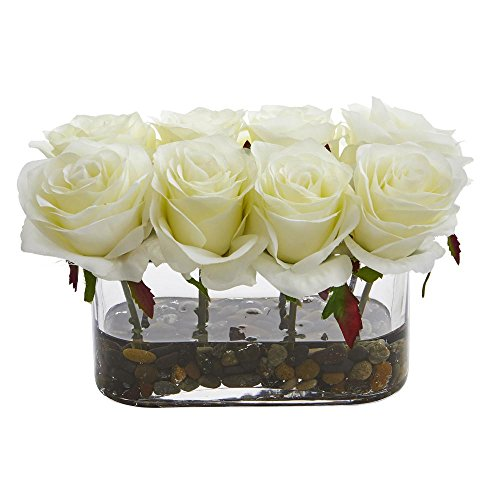 (Nearly Natural 5.5 in. High Blooming White Roses in Glass Vase Artificial Arrangement)