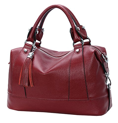 (Heshe Leather Shoulder Bag Womens Tote Top Handle Handbags Cross Body Bags for Office Lady (Wine))