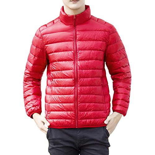 Red HZCX Sleeve Lightweight Down Men's Long FASHION Packable Quilted Stand Collar Jackets rqqwCXP