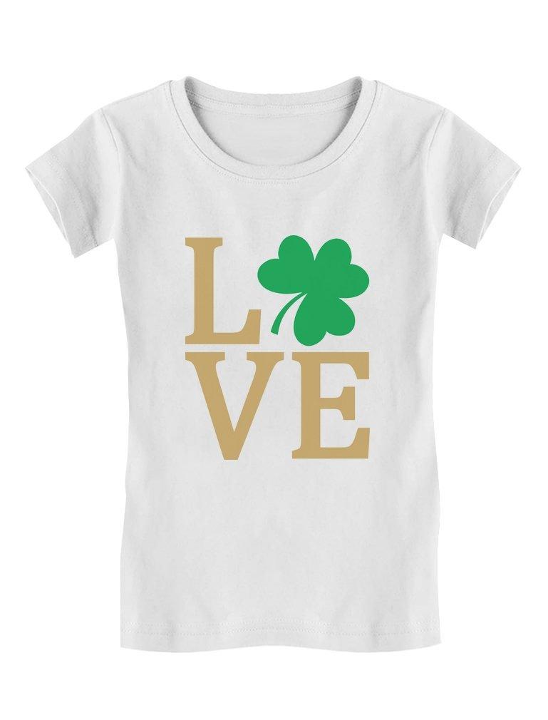 Irish Clover Love St Patrick's Day Cute Irish Toddler/Kids Girls' Fitted T-Shirt 4T White