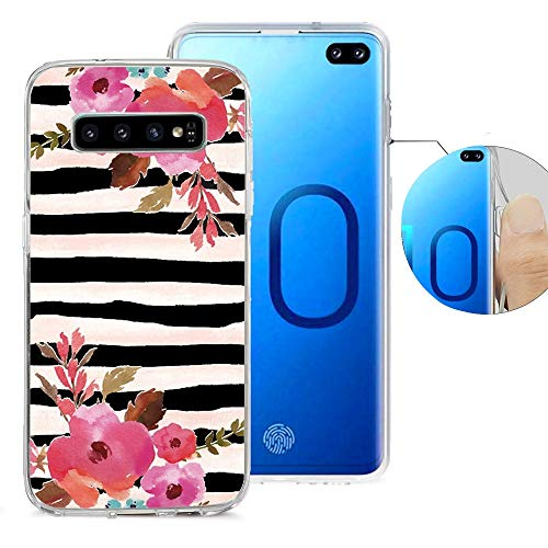 - Viwell Compatible for Samsung S10 Plus Design Pattern Case, High Impact Protective Case for Galaxy S10 Plus 2019 Release Black Stripes Flowers