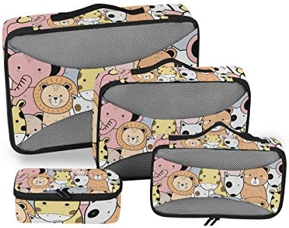 水彩動物エレファントライオン荷物パッキングキューブオーガナイザートイレタリーランドリーストレージバッグポーチパックキューブ4さまざまなサイズセットトラベルキッズレディース