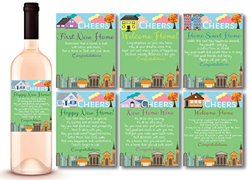 6 Bright Pastel Wine Labels Housewarming Gifts Wine Bottle Label