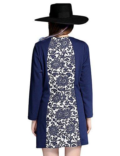 PU&PU Robe Aux femmes Gaine Simple,Mosaïque Col Arrondi Au dessus du genou Coton , blue-3xl , blue-3xl