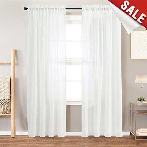 Linen Textured Sheer Window Curtains for Bedroom Off White Curtain for Living Room 84 inch Length Rod Pocket Curtain Panels 1 Pair