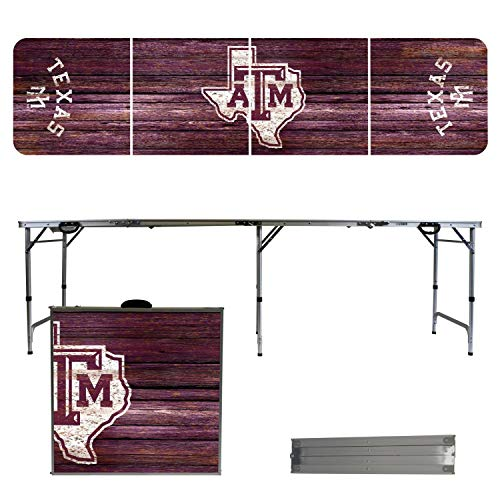 Victory Tailgate NCAA Texas A&M University 8'x2' Foldable Tailgate Table with Adjustable Hight and Spill Resistant Sealant - Weathered Series