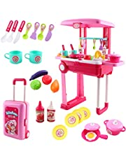 deAO SC-KP Kitchen Little Chef Set in Convertible Suitcase Portable Playset Carrycase with Sound-Lights and Accessories Included (Pink), 3-5 Years