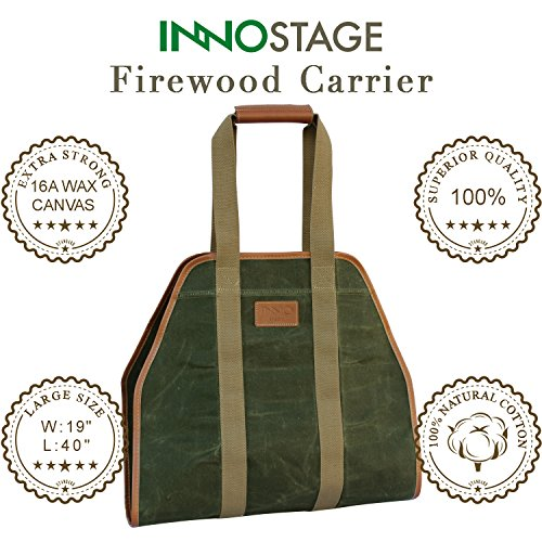INNO STAGE Waxed Canvas Log Carrier Tote Bag,40''X19'' Firewood Holder,Fireplace Wood Stove Accessories by INNO STAGE (Image #4)