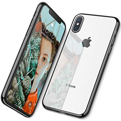 DTTO Case for iPhone Xs, Soft TPU Clear Stylish Cover Anti-Falling Case with Metal Luster Edge for Apple iPhone Xs(2018), Also Compatible with iPhone X(2017) 5.8 Inch-Black