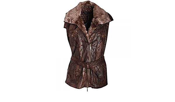Javier Simorra Womens Faux Fur Gilet 14 Brown: Amazon.es: Ropa y accesorios