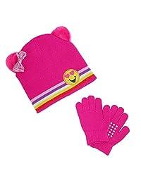 CTM® Girl's Emoji Hat with Grip Gloves Set, Pink