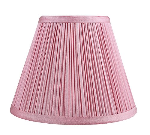 Urbanest Mushroom Pleated Softback Lamp Shade, Faux Silk, 5-inch by 9-inch by 7-inch, Pink, Spider-Fitter